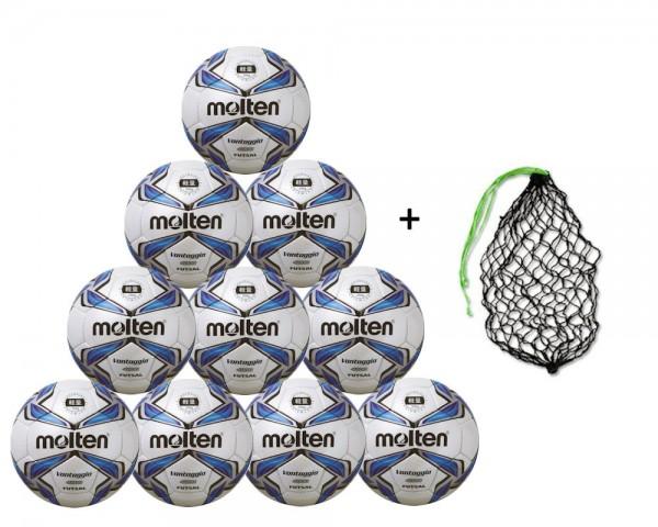 Molten Futsal F9V4000-L 10er Ballpaket inkl. Ballnetz