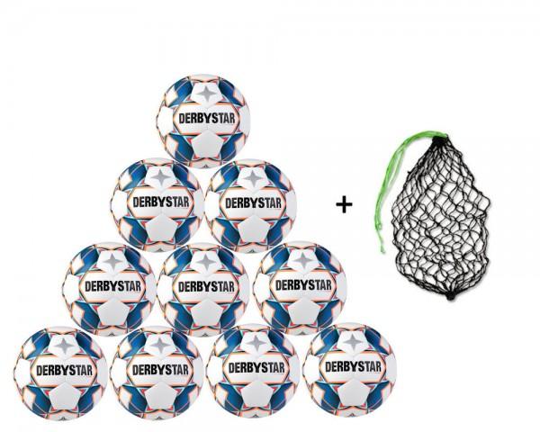 Derbystar Fußball Stratos S-Light Jugend-Trainingsball 10er Ballpaket inkl. Ballnetz
