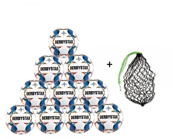 Derbystar Fußball Stratos TT Trainingsball 10er Ballpaket inkl. Ballnetz