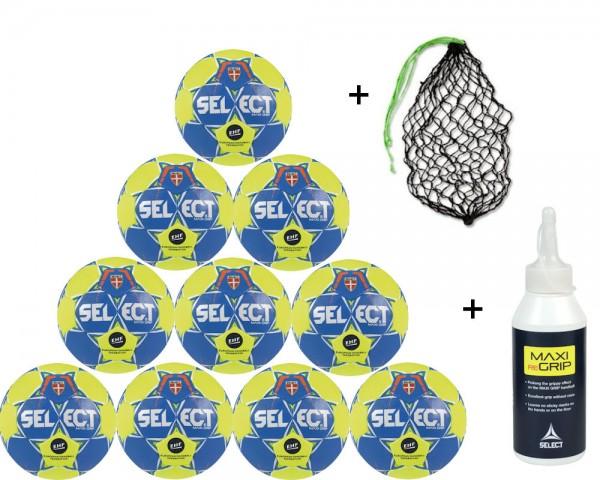 Select Handball Maxi Grip 2.0 - 10er Ballpaket inkl. Maxi ReGrip und Ballnetz