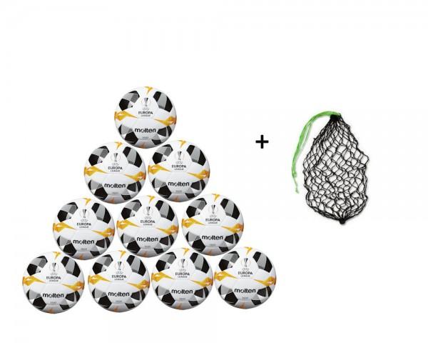 Molten Fußball Replica UEL 2019/2020 Weiß/Orange/Schwarz -10er Ballpaket inkl. Ballnetz