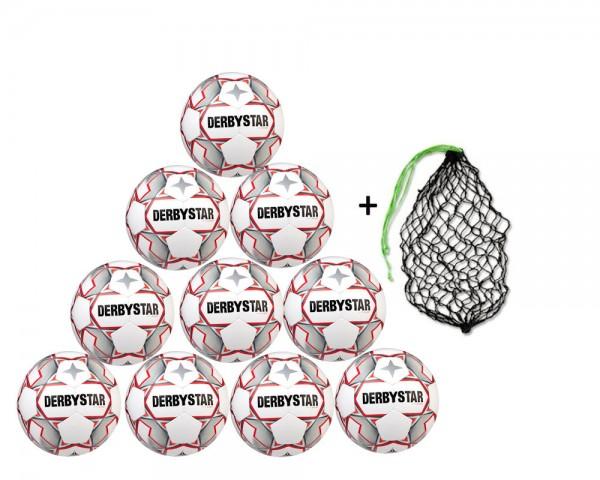 Derbystar Fußball Apus S-Light Jugend-Trainingsball 10er Ballpaket inkl. Ballnetz