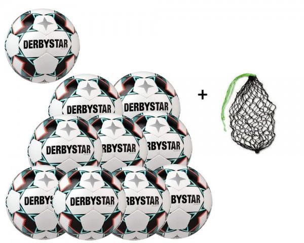 Derbystar Fussball Brillant TT weiss grün schwarz Gr. 5 - 10er Ballpaket mit Ballnetz