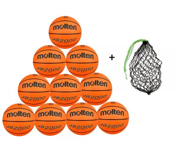 Molten Basketball B5C2000-L 10er Ballpaket inkl. Ballnetz