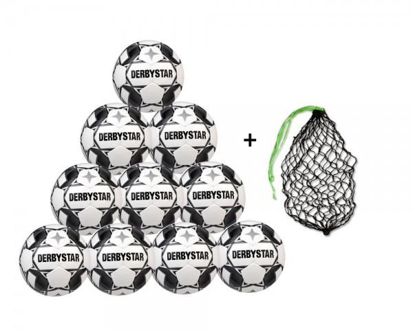 Derbystar Fußball Apus TT Trainingsball 10er Ballpaket inkl. Ballnetz