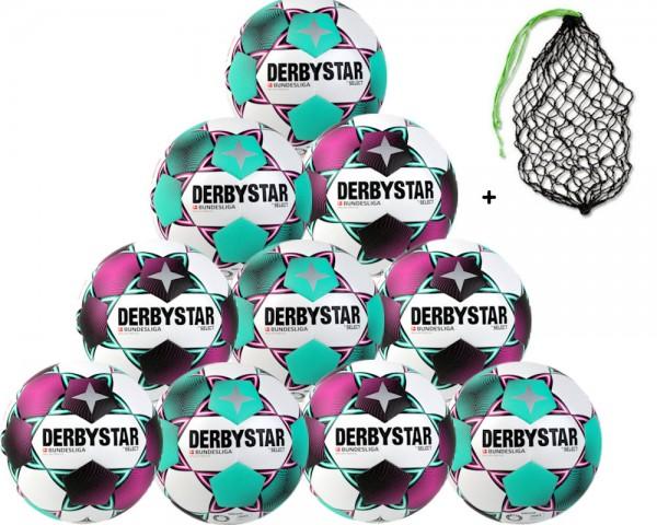 Derbystar Fußball Bundesliga Brillant Replica - Saison 2020/21 - 10er Ballpaket inkl. Ballnetz