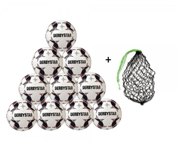 Derbystar Fußball Brillant TT AG Top-Trainingsball 10er Ballpaket inkl. Ballnetz