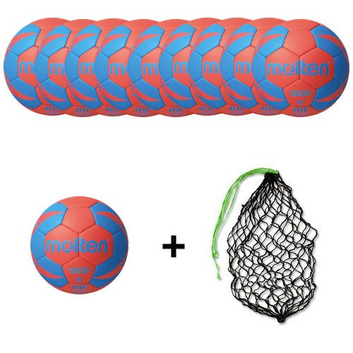 Molten Handball H3X3200 / H2X3200 / H1X3200 / H0X3200 -RB2 Ballpaket (10 Bälle + Ballnetz)