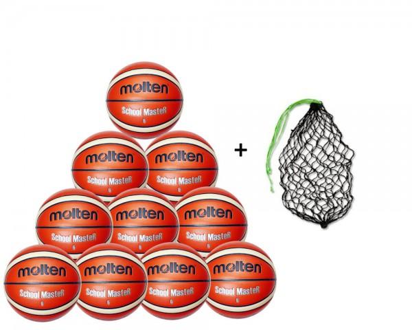 Molten Basketball BG7SM / BG6SM 10er BAllpaket inkl. Ballnetz