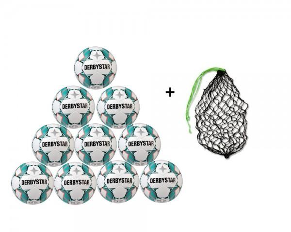 Derbystar Fußball Brillant APS Gr.5 10er Ballpaket inkl Ballnetz
