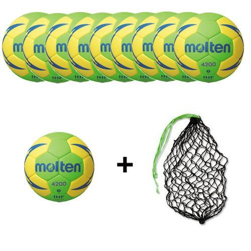 Molten Handball H2X4200-GY-X / H1X4200-GY Ballpaket (10 Bälle + Ballnetz)