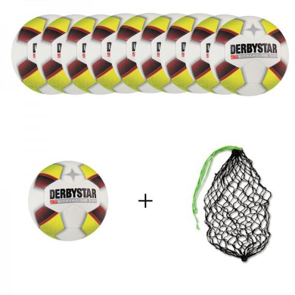 Derbystar Fußball X-Treme Pro S-light Gr.5 Ballpaket (10 Bälle+Ballnetz)