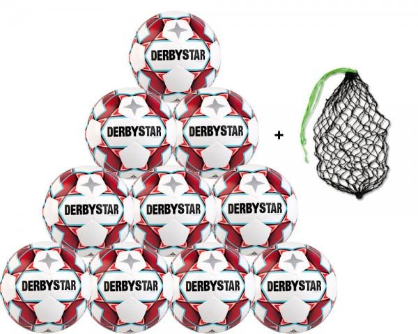 Derbystar Fußball Dynamic TT Trainingsball - 10er Ballpaket inkl. Ballnetz