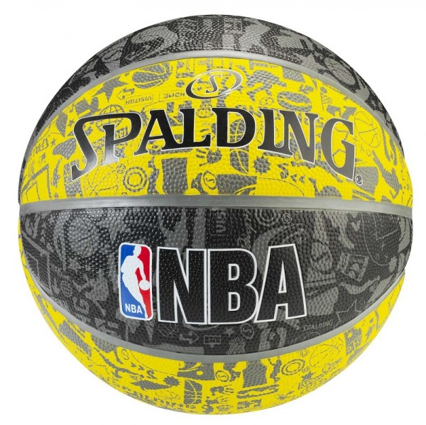 Spalding Basketball NBA Graffiti grau-gelb