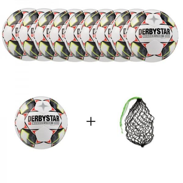Derbystar Fußball Bundesliga Brillant S-Light Ballpaket (10 Bälle+Ballnetz)