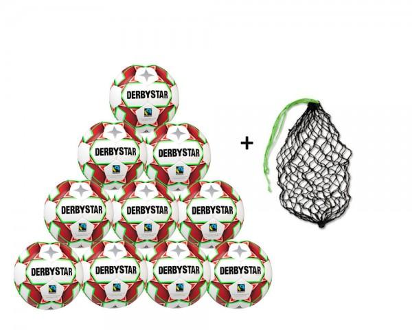 Derbystar Fußball Alpha TT Trainingsball Fairtrade 10er Ballpaket inkl. Ballnetz