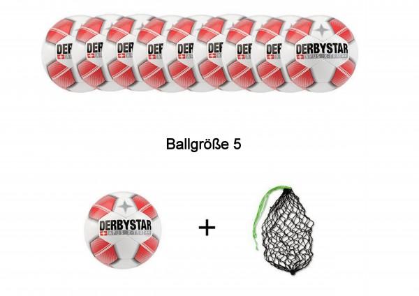 Derbystar Fußball Apus X-Tra S-Light Ballpaket  (10 Bälle+Ballnetz)