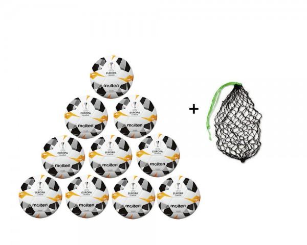 Molten Fußball Replica UEL 2019/2020 Weiß/Orange/Schwarz-10er Ballpaket incl. Ballnetz