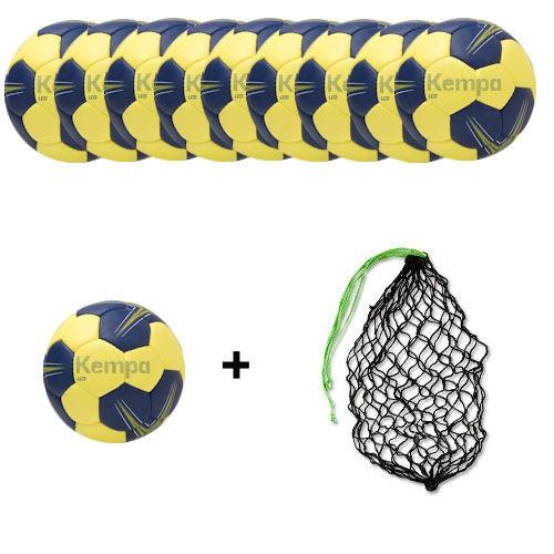 Kempa Handball Leo deep Blue/lime yellow Ballpaket (10 Bälle + Ballnetz)