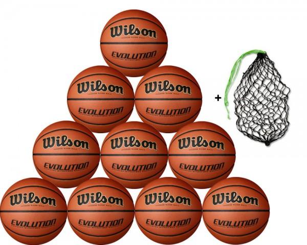 Wilson Basketball EVOLUTION Game Ball - 10er Ballpaket inkl. Ballnetz