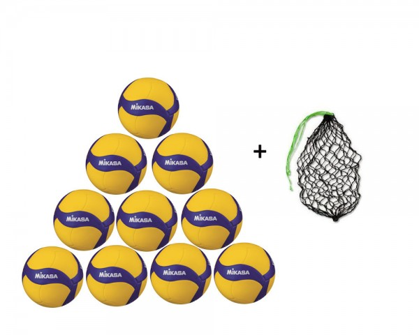 Mikasa Volleyball V345W -1140- 10er Ballpaket inkl. Ballnetz