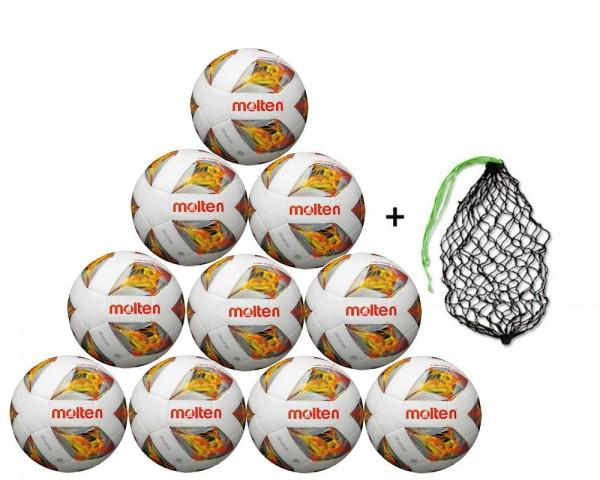 Molten Fußball FXA3129-O - 10er Ballpaket inkl. Ballnetz