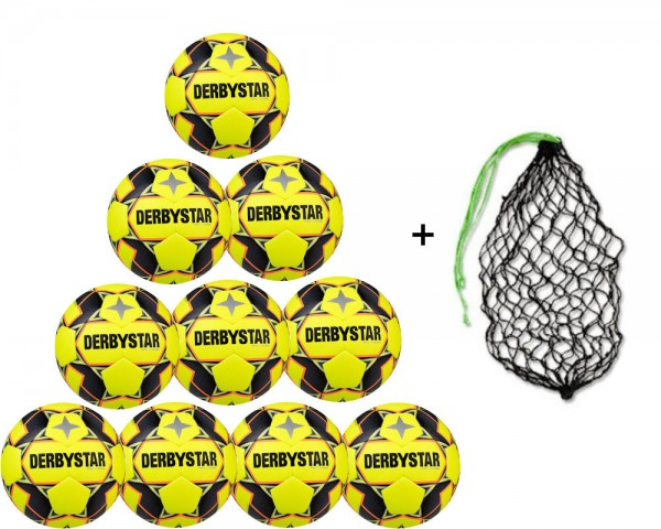 Derbystar Futsal Hyper TT Trainingsball 10er Ballpaket inkl. Ballnetz